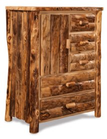 Fireside Rustic Side Door, 5 Drawer Armoire (Slab Sides)